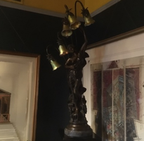 Bronze victorian lamp and sculpture