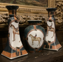 Horse and Rider Candle Sticks and Vase Set