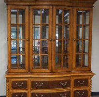 Alexander Julian At Home Fruitwood Two Part Illuminated China Cabinet