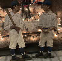 Vintage Baseball Player Andirons