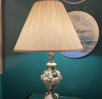 green and white porcelain lamp
